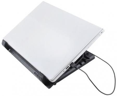 Cooler Laptop cu ventilator iluminat, 17 inch, 2 port USB, inaltime ajustabila, Negru [8]