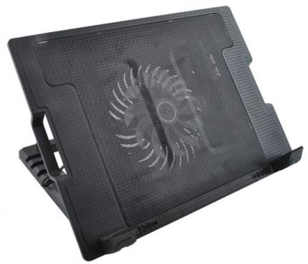 Cooler Laptop cu ventilator iluminat, 17 inch, 2 port USB, inaltime ajustabila, Negru [2]
