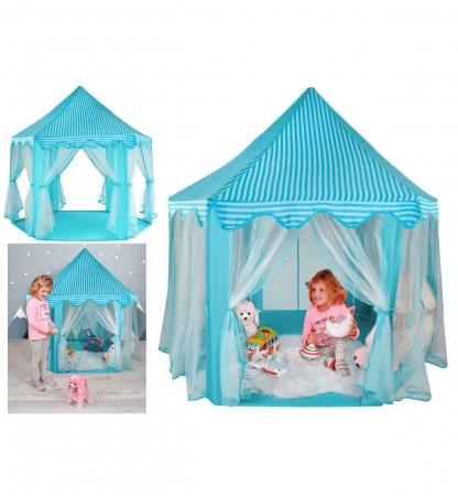 Cort pentru copii castel printese, 89cm, albastru pliabil0