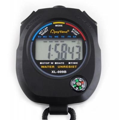 Cronometru digital cu busola,  LCD, afisaj ora, calendar, functie alarma, snur, negru [4]