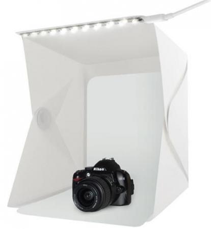 Cub foto pliabil, 20 LED-uri SMD, microUSB 5V, fundal alb negru, PVC [9]