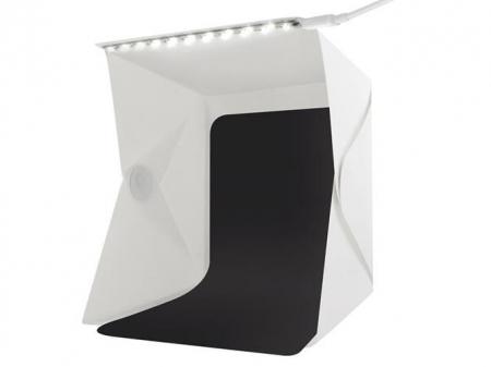 Cub foto pliabil, 20 LED-uri SMD, microUSB 5V, fundal alb negru, PVC [10]