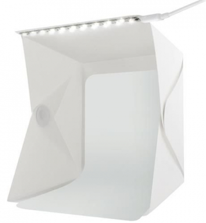 Cub foto pliabil, 20 LED-uri SMD, microUSB 5V, fundal alb negru, PVC [5]