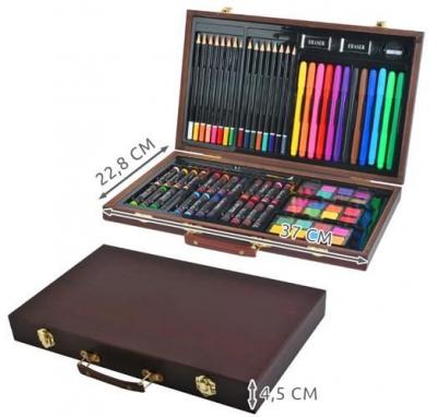Set pictura si desen, 81 de piese, carioci, creioane acuarele servieta din lemn [8]