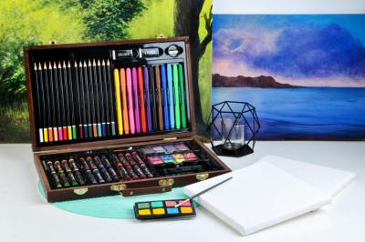 Set pictura si desen, 81 de piese, carioci, creioane acuarele servieta din lemn [10]