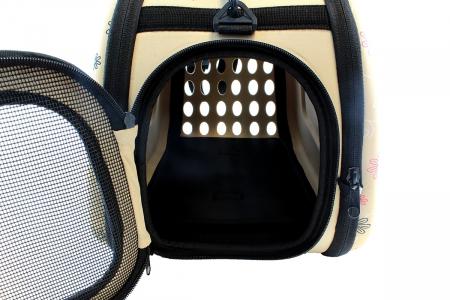 Geanta de transport animale pliabila pentru caini sau pisici de talie mica  culoare bej5