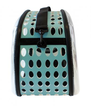Geanta de transport animale pliabila pentru caini sau pisici de talie mica culoare transparenta turcoaz [4]