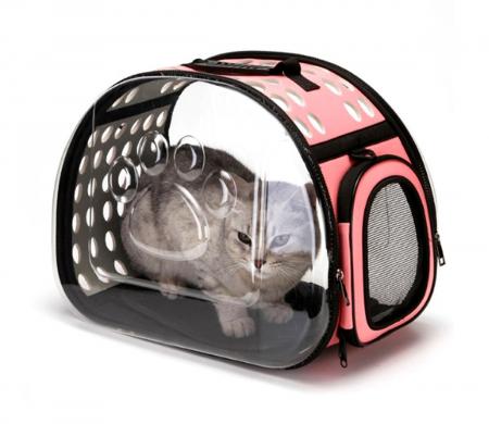 Geanta transport animale maner, curea de umar, Roz cu pereti transparenti 43x32x30 cm [4]