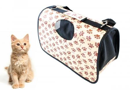Geanta transport caini sau pisici 45x20x27 cm, pliabila, bej imprimeu labute [1]