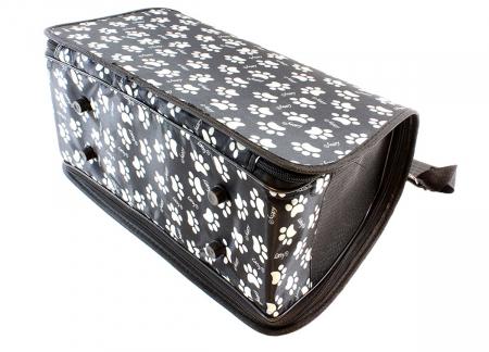 Geanta transport caini sau pisici 45x20x27 cm, pliabila, negru cu imprimeu labute bej [3]