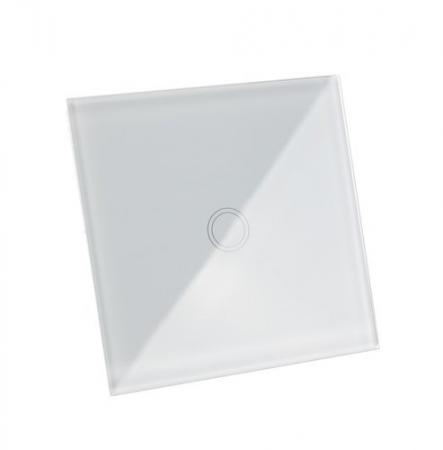 Intrerupator Single touch,  Sticla, 8.6 x 8.6 x 3.3 cm, Alb [0]
