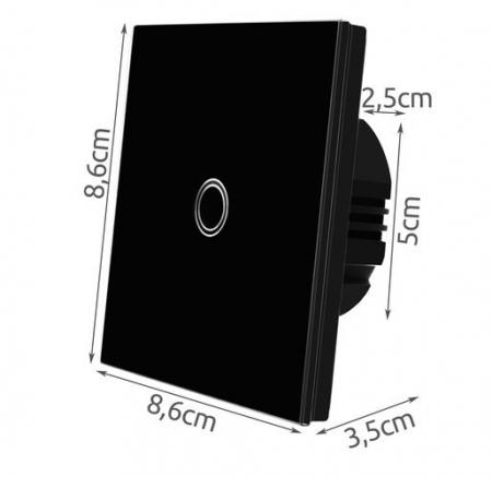 Intrerupator Single touch, Sticla, 8.6 x 8.6 x 3.3 cm, Negru [9]