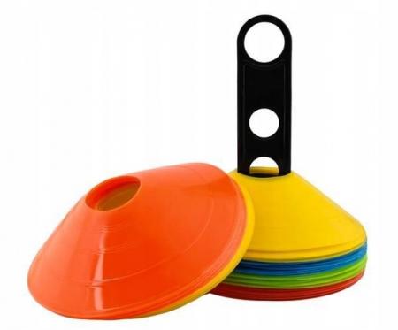 Jaloane tip con pentru antrenament din cauciuc cu suport set 50 bucati colorate [0]