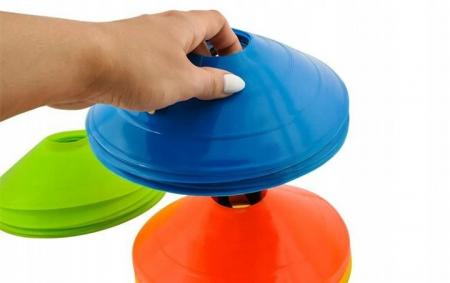 Jaloane tip con pentru antrenament din cauciuc cu suport set 50 bucati colorate [1]