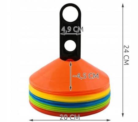 Jaloane tip con pentru antrenament din cauciuc cu suport set 50 bucati colorate [4]