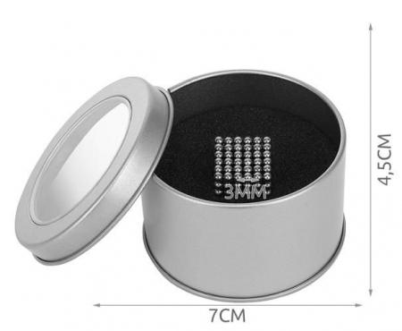 Joc Puzzle Antistres cu Bile Magnetice 216 Bucati, Diametru Bile 3mm, argintiu3