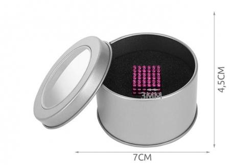 Joc Puzzle Antistres cu Bile Magnetice 216 Bucati Diametru Bile 3mm culoare Roz [2]