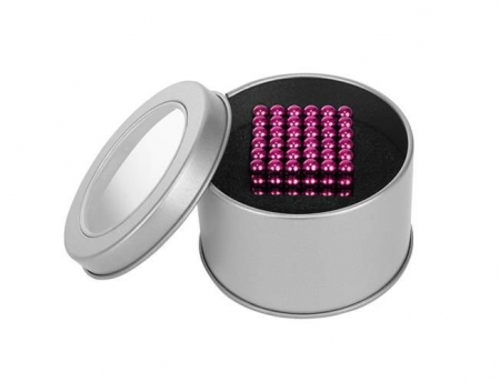 Joc Puzzle Antistres cu Bile Magnetice 216 Bucati, Diametru Bile 5mm culoare Roz [1]