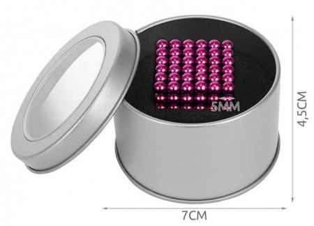 Joc Puzzle Antistres cu Bile Magnetice 216 Bucati, Diametru Bile 5mm culoare Roz [3]
