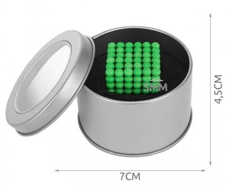 Joc Puzzle Antistres  cu Bile Magnetice 216 Bucati, Diametru Bile 5mm verde fluorescent [3]