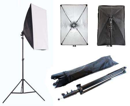 Kit Lumina Continua Softbox 70x50cm pentru Studio Foto cu 1 filtru difuzie si Suport Trepied Reglabil 78-230cm [5]