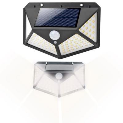 Lampa solara 100 LED-uri, 7W, sensor miscare 8-10m, fixare perete, exterior, lumina alb rece, unghi lumina 270 grade3