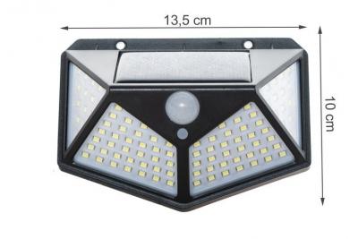Lampa solara 100 LED-uri, 7W, sensor miscare 8-10m, fixare perete, exterior, lumina alb rece, unghi lumina 270 grade1