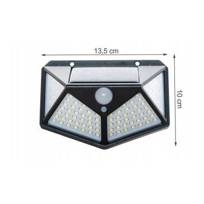 Lampa solara 100 LED-uri, 7W, sensor miscare 8-10m, fixare perete, exterior, lumina alb rece, unghi lumina 270 grade4