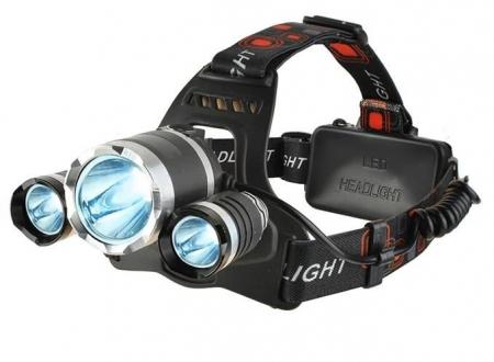 Lanterna de cap frontala CREE 3 leduri reincarcabila 220V +12V + reglabila 4 moduri7