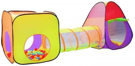 Loc de joaca 280cm lungime  multifunctional, pentru interior si exterior, cort, tunel intermediar si iglu, 200 Bile multicolore  si geanta depozitare [6]
