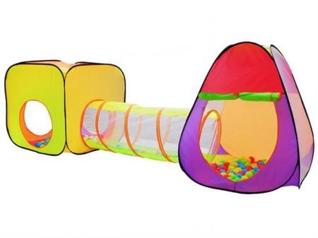 Loc de joaca 280cm lungime  multifunctional, pentru interior si exterior, cort, tunel intermediar si iglu, 200 Bile multicolore  si geanta depozitare [0]