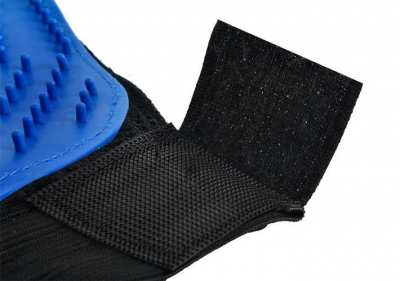 Manusa pentru periaj si masaj animale de companie, marime universala,culoare albastru/negru5