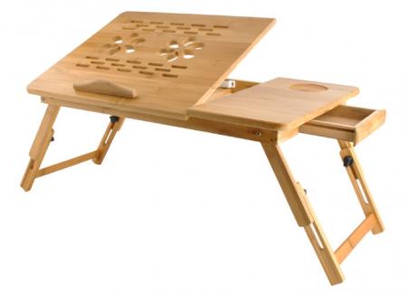 Masuta laptop lemn pliabila 17 inch cu 4 trepte inclinare,rabatabila cu sertar suport cana marime XXL [0]