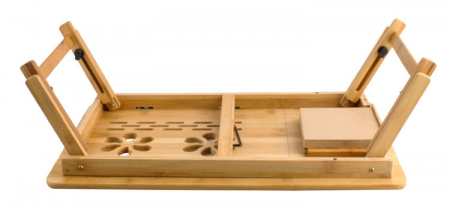 Masuta laptop lemn pliabila 17 inch cu 4 trepte inclinare,rabatabila cu sertar suport cana marime XXL [5]