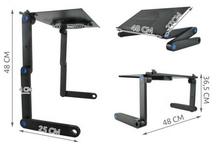 Masuta rabatabila pentru laptop inălțime reglabilă USB cooler răcire 27X48 cm  cu  Mouse  Pad negru [16]