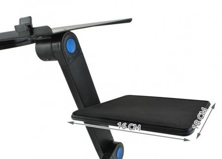 Masuta rabatabila pentru laptop inălțime reglabilă USB cooler răcire 27X48 cm  cu  Mouse  Pad negru [17]