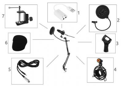 Microfon cu USB conectare PC cu stand inclus pentru Inregistrare Vocala, Streaming, Gaming, Karaoke11
