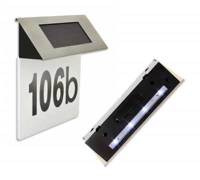 Numar Casa Led Incarcare Solara Carcasa Otel Cifre 0-9, Litere A-F [0]