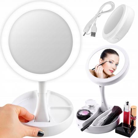 Oglindă cosmetică dublă iluminată LED cu organizator de accesorii0
