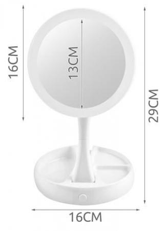 Oglindă cosmetică dublă iluminată LED cu organizator de accesorii7