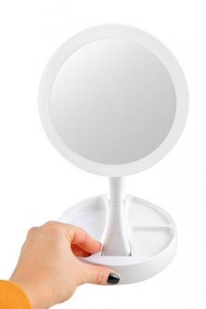 Oglindă cosmetică dublă iluminată LED cu organizator de accesorii2