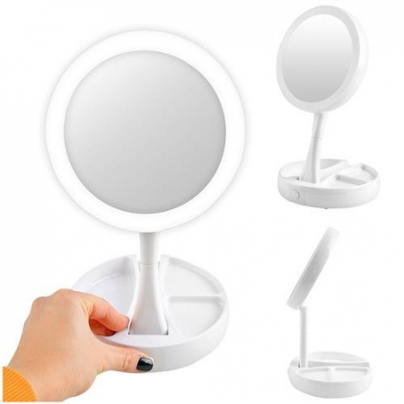 Oglindă cosmetică dublă iluminată LED cu organizator de accesorii1