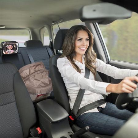 Oglinda auto vizibilitate bebe, retrovizoare montare tetiera, suprafata anti-alunecare, 30x18.7x2.5 cm2