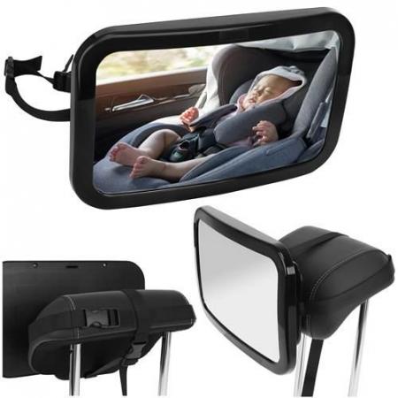 Oglinda auto vizibilitate bebe, retrovizoare montare tetiera, suprafata anti-alunecare, 30x18.7x2.5 cm3
