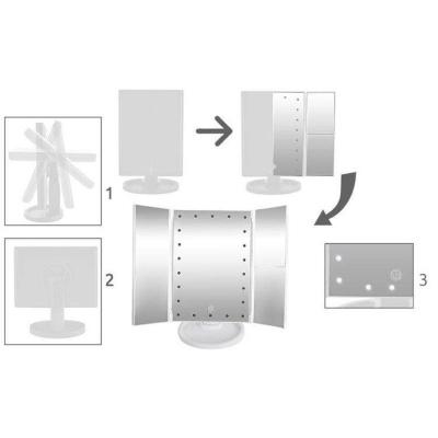Oglinda cosmetica rotativa led  iluminare zoom 2 si 3 x alimentare usb si baterii alba [9]