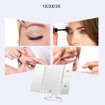 Oglinda cosmetica rotativa led  iluminare zoom 2 si 3 x alimentare usb si baterii alba [4]