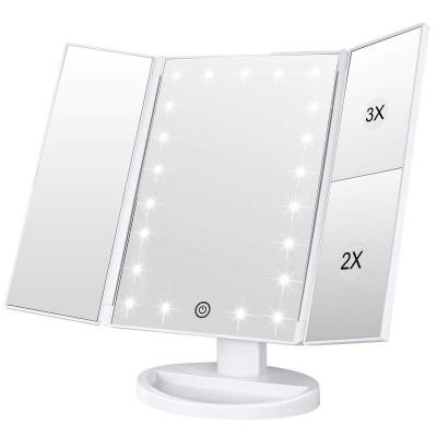 Oglinda cosmetica rotativa led  iluminare zoom 2 si 3 x alimentare usb si baterii alba [1]