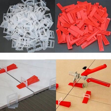 Pachet nivelare gresie  - 651 bucati contine 200 clipsuri 1 mm ,200 clipsuri 1.5 mm 100 clipsuri 2 mm 150 pene + cleste [8]