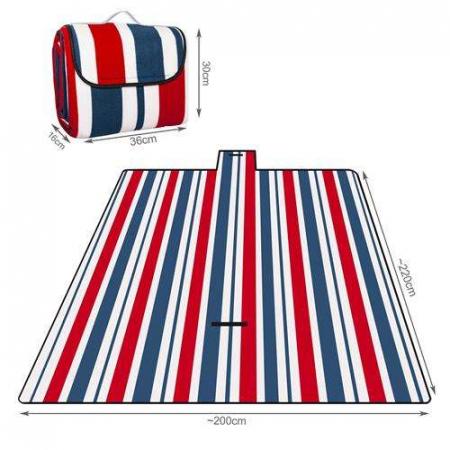 Patura picnic camping cu maner  flece izolata termic  si impermeabila, 200 x 200 cm [6]