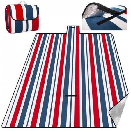 Patura picnic camping cu maner  flece izolata termic  si impermeabila, 200 x 200 cm [1]